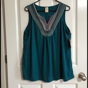 NWT women's size 1X teal tank top (16w)